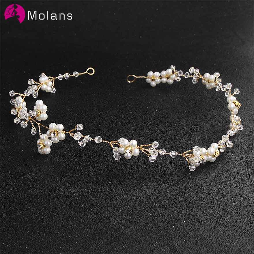 MOLANS Delicate Pearls Floral Water Drill Hairbands for Bridal Hair Ornament Handmade Alloy Twisted Beading Headband for Wedding