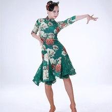 Cheongsam latin dress lace stiching latin dancing dress tango costume latin salsa dress tango latin dance wear cha cha costume