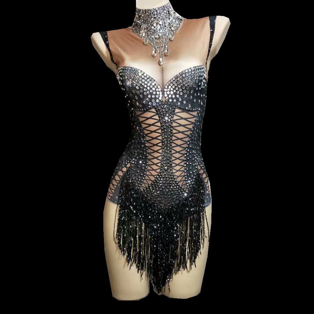 Sparkly Crystals Black Fringes Bodysuit Women Bling Rhinestones DJ Jazz Dance Costume Stage Performance Nightclub Show Outfit
