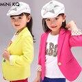 2016 3Y-8Y Nova Primavera & Outono Meninas Se Adapte Às Crianças jaqueta de 4 Cores Da Moda Algodão Trench Blazers Menina Crianças Bebê roupas