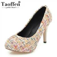 TAOFFEN Size 34 43 Office Lady Platform Inside High Heel Shoes Women Round Toe Thin Heels Pumps Paty Club Shoes Women Footwears