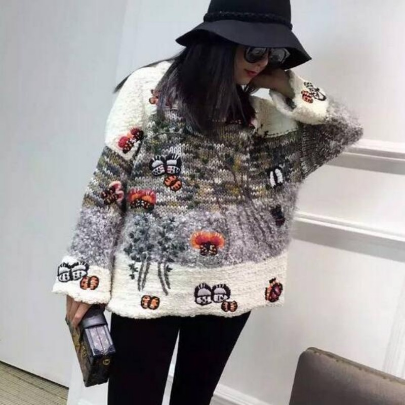 Al Inverno Por Mujeres Femininos Bordado Jersey Las Invierno De Casacos Cachemira Feminina Mayor Tamaño Chaqueta Gran Suéteres Venta dfqx05Xd