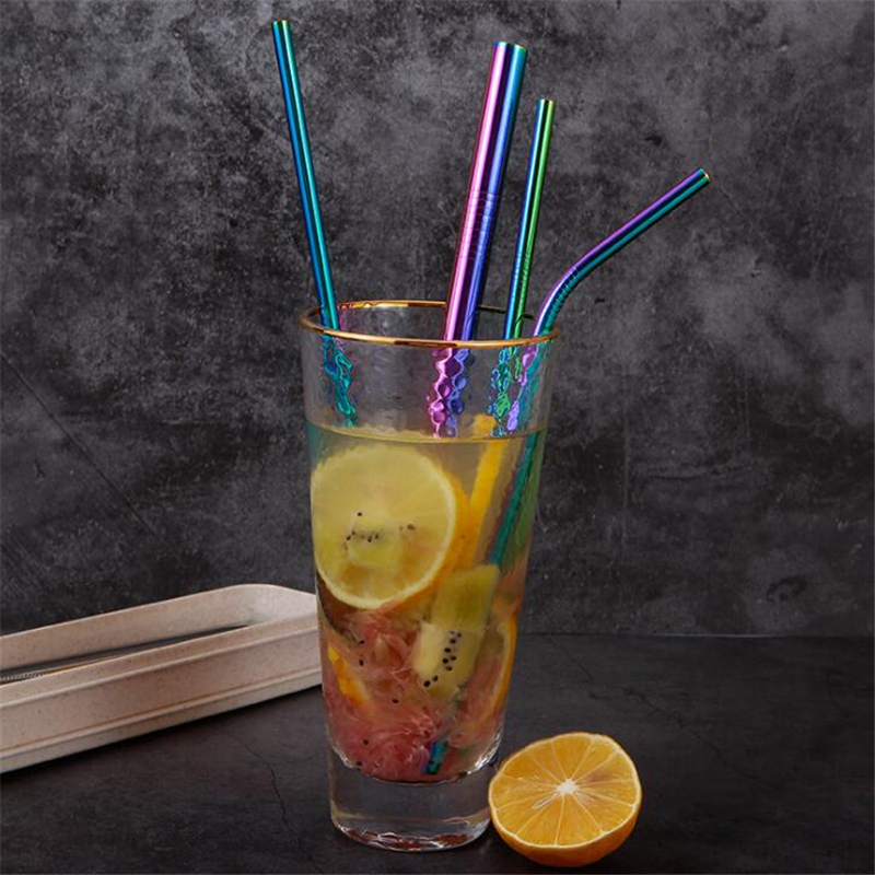 Reusable Drinking Straws Stainless Steel Straw With Cleaner Brush Straight Bent  Drinking Straws Party Bar Accessory 6Pcs/Set