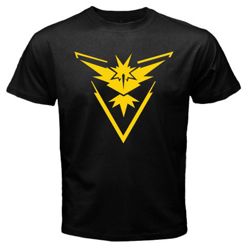 New Pokemon Go Team Instinct Pokemon Trainer Mens Black T-Shirt Size S to 3XL