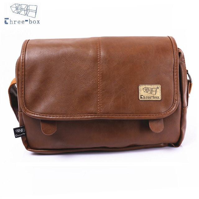 Three Box Men Messenger Bag Polyurethane Leather Casual Crossbody Vintage School Satchel Business Shoulder Bags