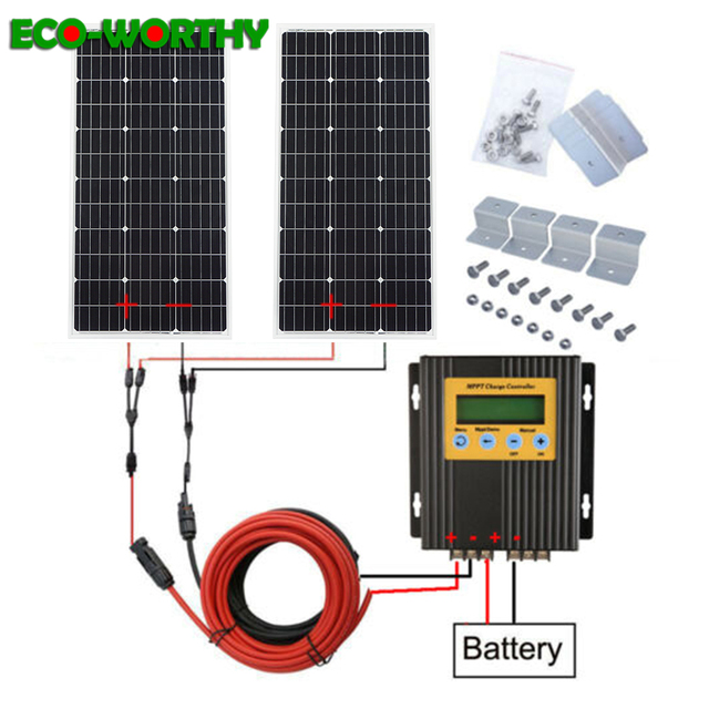 ECOworthy 200W solar system: 2pcs 100W mono solar power panel& 20A MPPT controller& 5m black red cables Z charge FOR 12V battery