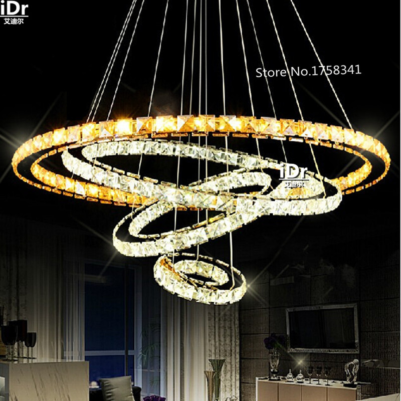 Ceiling Lights & Fans Chandeliers New 5 Circle K9 Crystal Chandelier High Quality Stainless Steel Five Rings Led Lights High-grade Light The New Listing