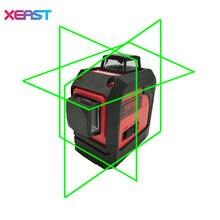 XEAST XE-13A Grün 3D laser level meter 12 Linien 360 grad Vertikalen Quer Super Leistungsstarke Mit schrägen linie