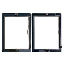 20 pz/lotto Vetro Dello Schermo di Tocco Digitizer Assembly per iPad 3/4 con tasto home + Adesivo Colla Adesivo di Ricambio parti di riparazione