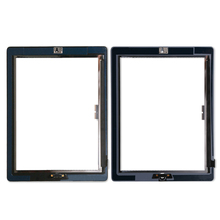 20 unids/lote pantalla táctil cristal digitalizador montaje para iPad 3/4 con botón de inicio + adhesivo reemplazo piezas de reparación