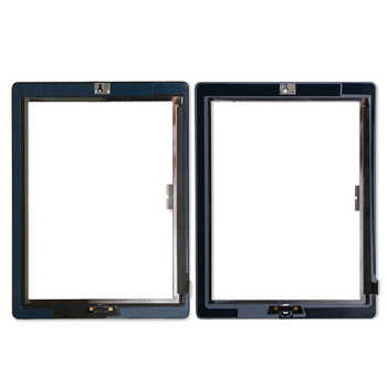 20Pcs/lot Touch Screen Glass Digitizer Assembly for iPad 3/ 4 with home button+ Adhesive Glue Sticker Replacement Repair Parts