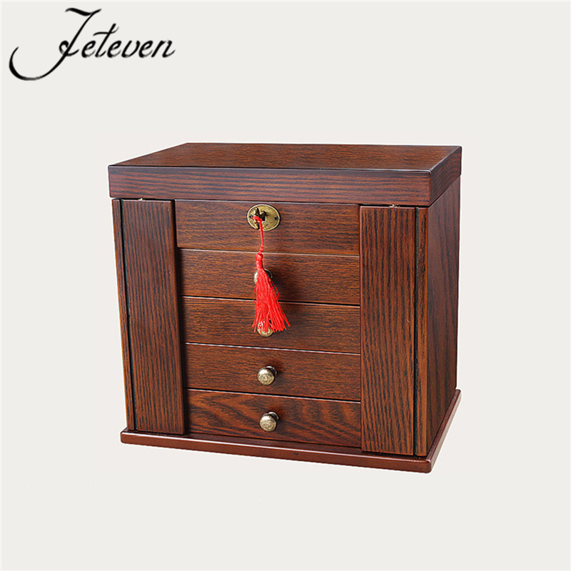 Large Jewelry Box Watch Case Brown Wooden Trinket Organizer 5 Layers