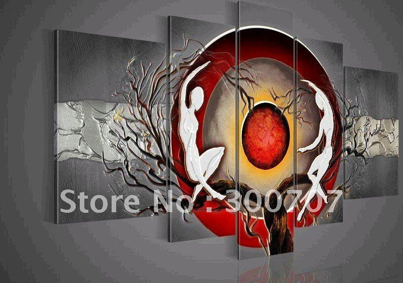 Hand Painted Wall Art Silver Big Tree Red Sun Dance Home