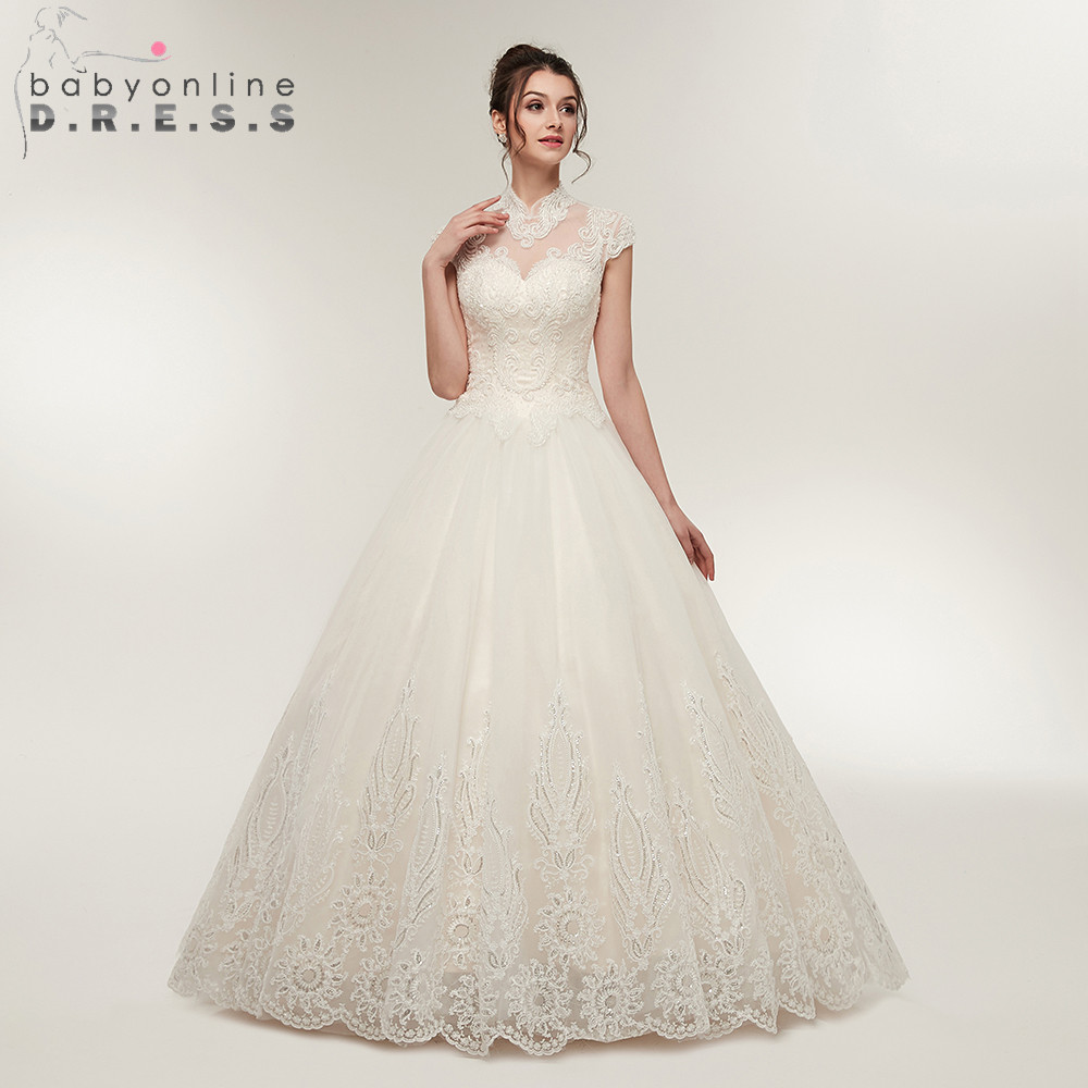 Sexy Open Back Back Ball Gown Lace Wedding Dress  Elegant High Collar Lace up Bridal Dress Vestido de Noiva-in Wedding Dresses from Weddings & Events    1