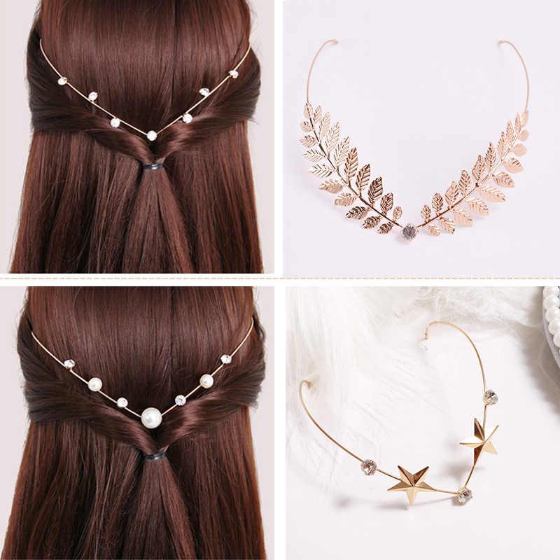ผม Vintage Rhinestones Back Hold Headbands คริสตัล Hairbands มุก Headwear หญิงอุปกรณ์เสริมผม Headdress