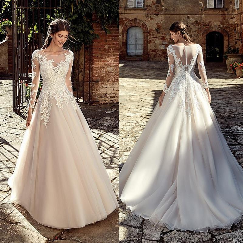 Modest Wedding Dresses 2019: Light Champagne Modest Wedding Dress Long Sleeve 2019 Robe