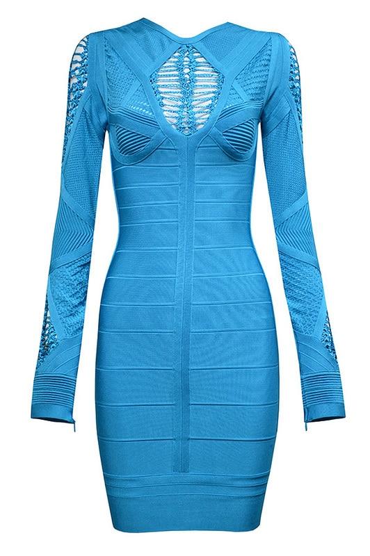 Free Shipping HL Dresses 2016 New Arrival Womens Fashion Aqua Fringe Detail Long Sleeve Winter Bandage Dress