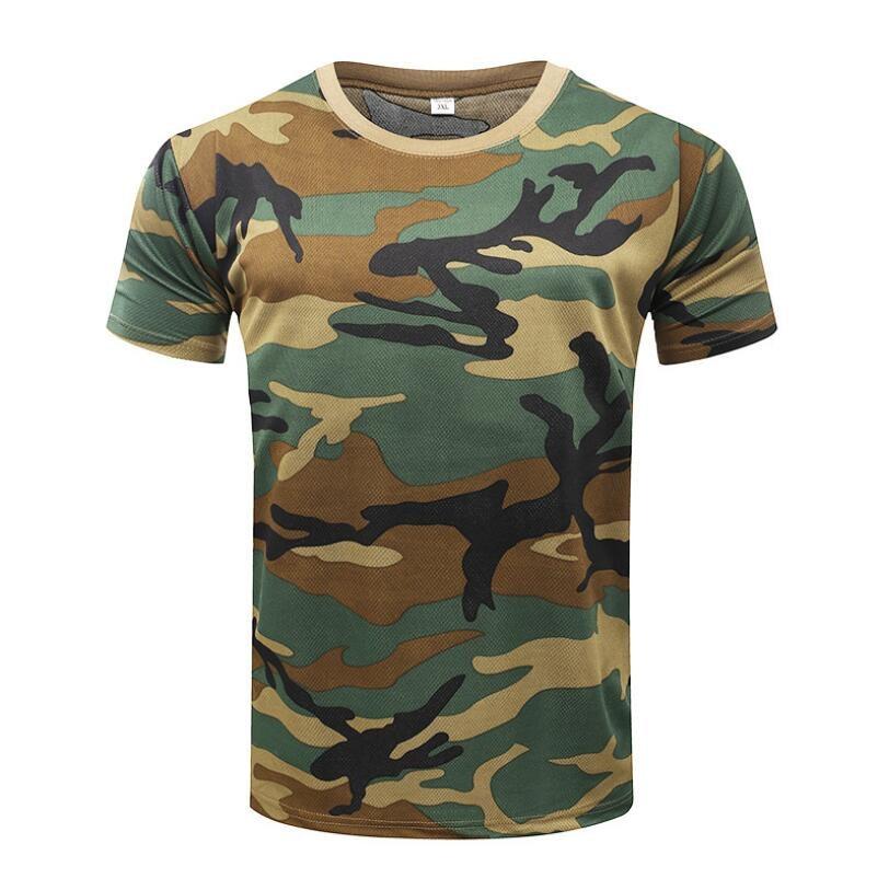 Herr T-shirt Militär Camouflage Casual Tactical Army Combat O-Neck - Herrkläder