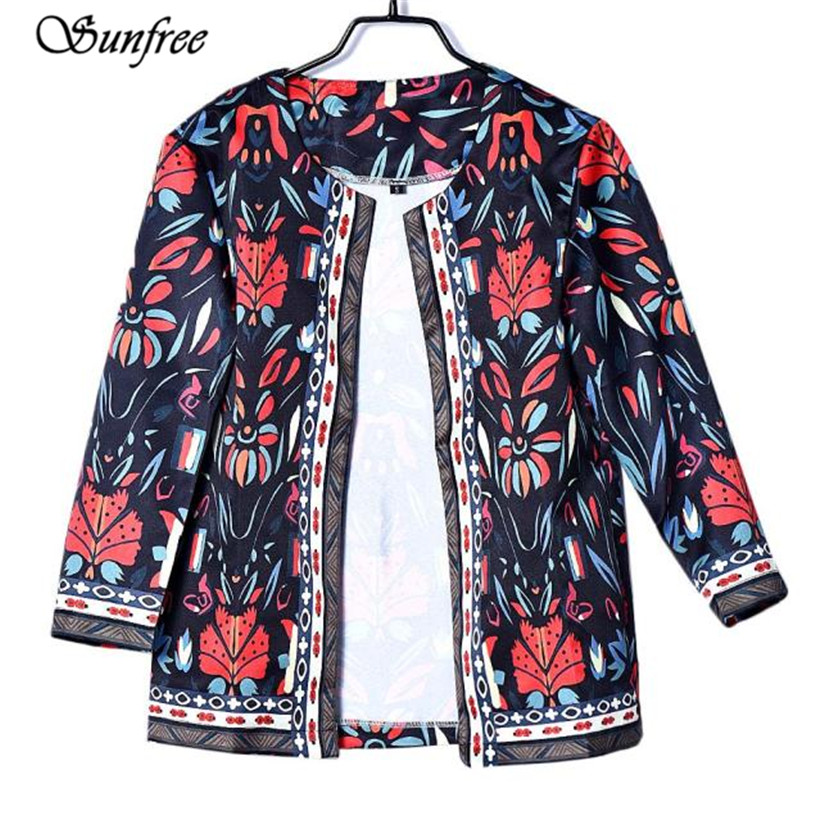 Sinfree 2016 New Hot Sale Women Slim Floral Outwear Parka Trench Coat Jacket Brand New High Qualituy #YF8950