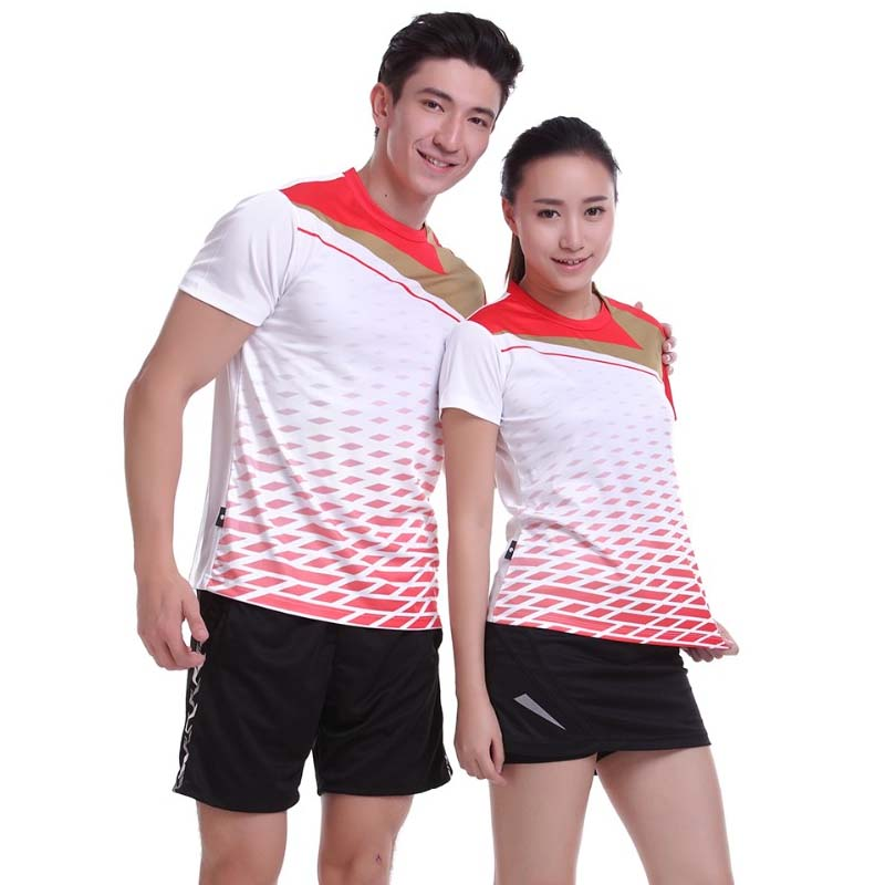 2017 Sportswear Quick Dry Breathable Badminton Shirt,Women/Men Table Tennis White Clothes Team Game Short Sleeve O Neck T Shirts