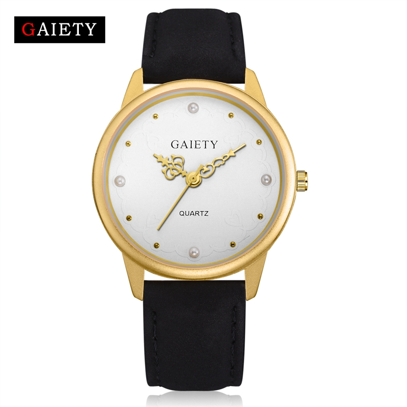 Gaiety Brand Fashion Casual Women Watches Business Simple Quartz Wristwatch Gold Dial Leather Strap Dress Female Clock G525 binger genuine gold automatic mechanical watches female form women dress fashion casual brand luxury wristwatch original box
