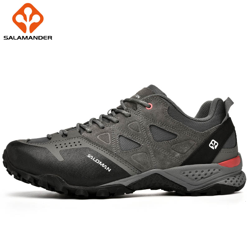 SALAMANDER Genuine Leather Men Winter Running Shoes Man Brand Outdoor Athletic Men