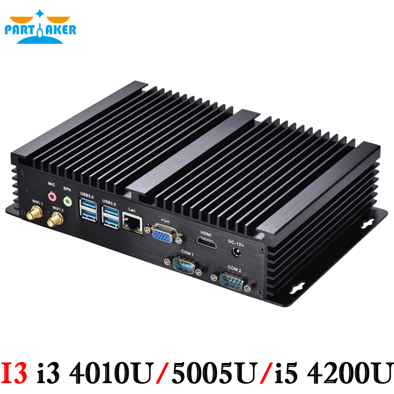 Fanless Mini PC Intel Dual Core i3 4010U i5 4200U 2*RS232 Rugged PC Industrail Computer Free Shipping Partaker