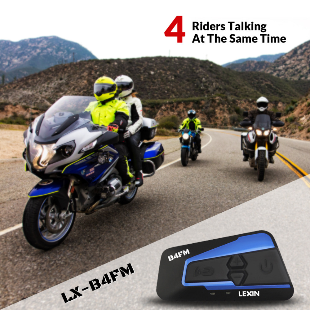 Newest 2018 Lexin 4 rider talking at the same time with FM Motorcycle Bluetooth Helmet Headsets Intercom BT intercomunicador lexin 2pcs r6 1200m bt motorcycle wireless intercom helmet headsets for 6 riders intercomunicador bluetooth para motocicleta
