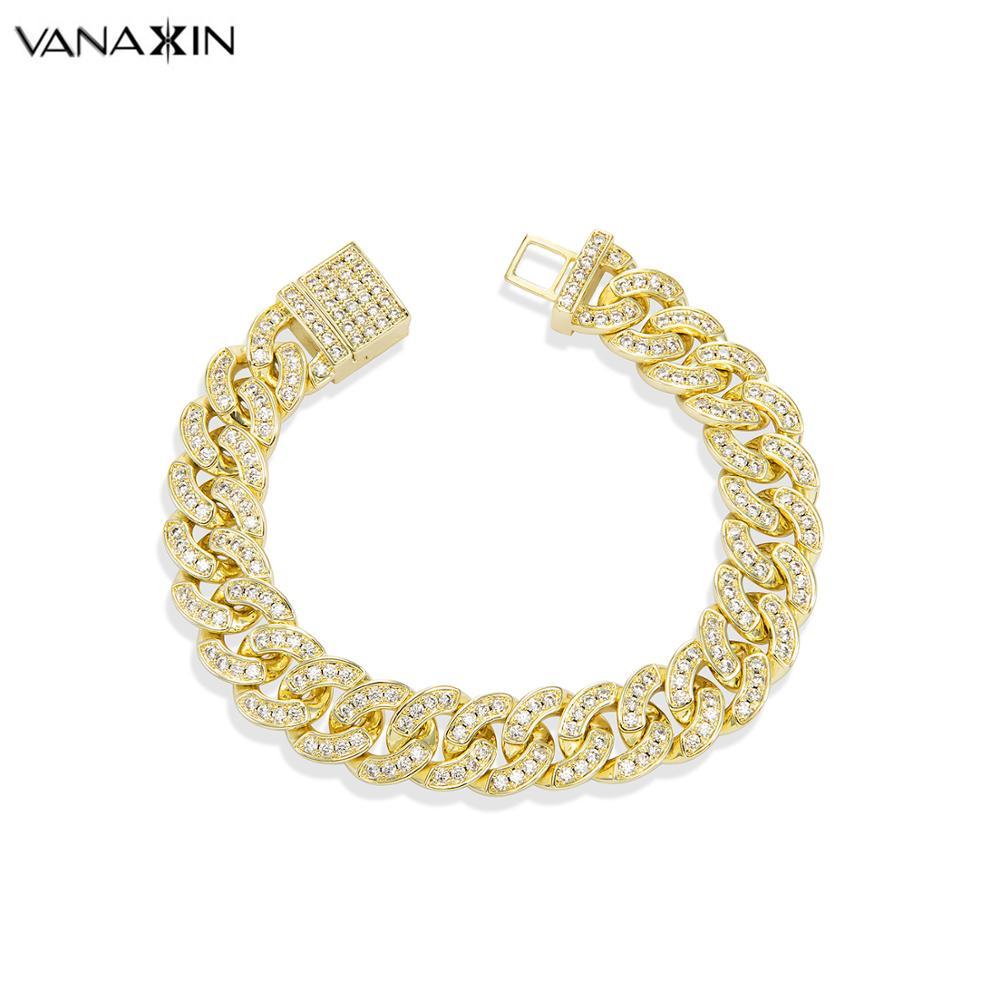 VANAXIN Bracelet homme Hip Hop lien cubain couleur or glacé pavé CZ homme Bracelet Street Fashion bijoux 2019 nouveauté