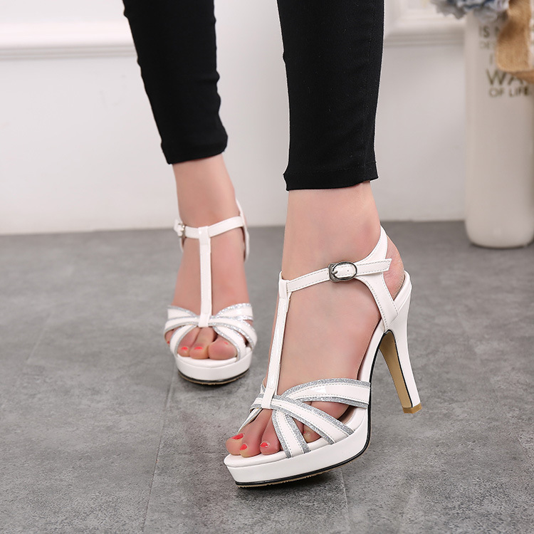 New Ankle Strap Summer Shoes Woman High-heeled Crystal Sandals Fashion Women Wedding Girls Pumps Sandals Big Size 35-43 size 30 43 woman ankle strap high heel sandals new arrival hot sale fashion office summer women casual women shoes p19266