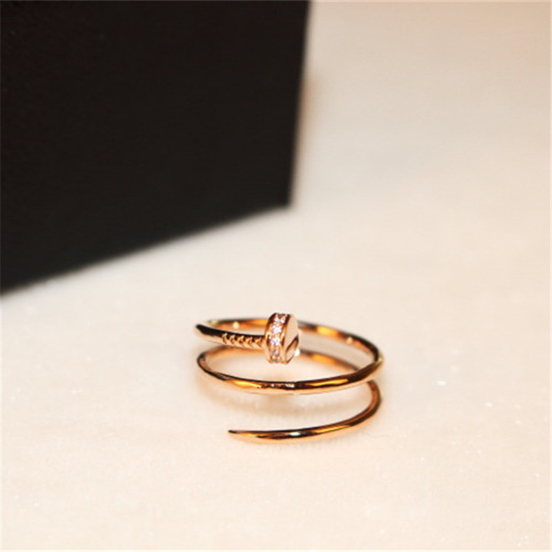 CX-Shirling Brand New Personality Twist Ring Fine Jewelry Female Real Rose Gold 3 Rows Cute Nail Style Ring new pure au750 rose gold love ring lucky cute letter ring 1 13 1 23g hot sale