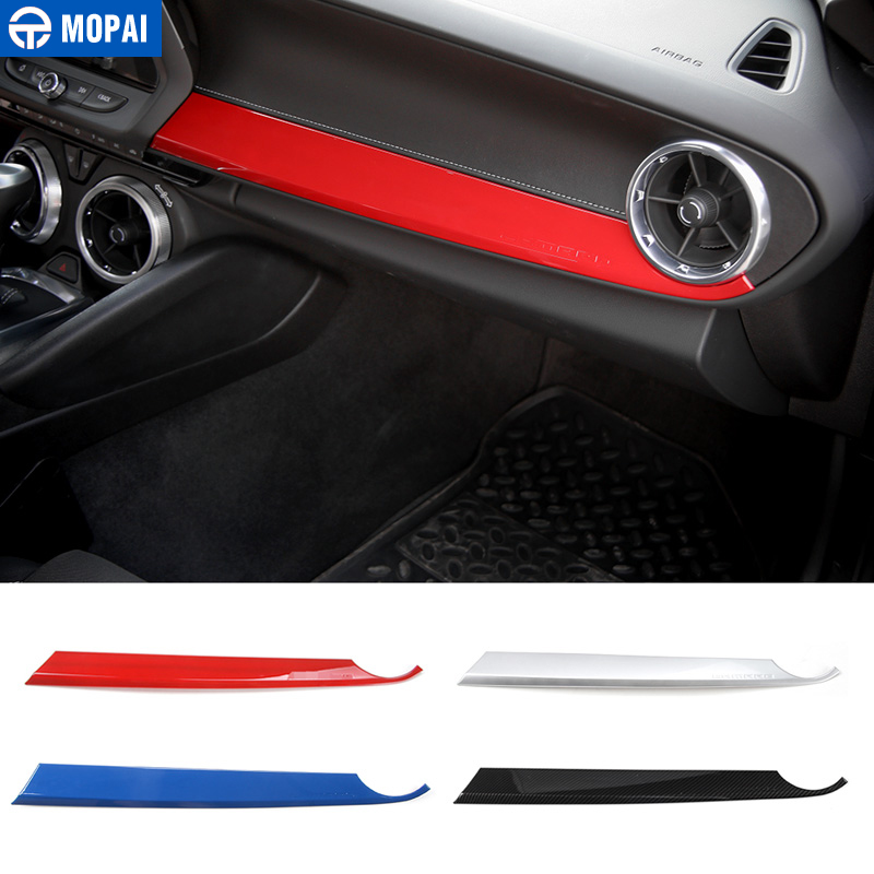 MOPAI ABS Car Interior Front Passenger Seat Copilot Panel Decoration Stickers For Chevrolet Camaro 2017 Up Car Styling shineka abs interior kits copilot passenger side panel decoration trim carbon fibre style for 6th gen chevrolet camaro 2017