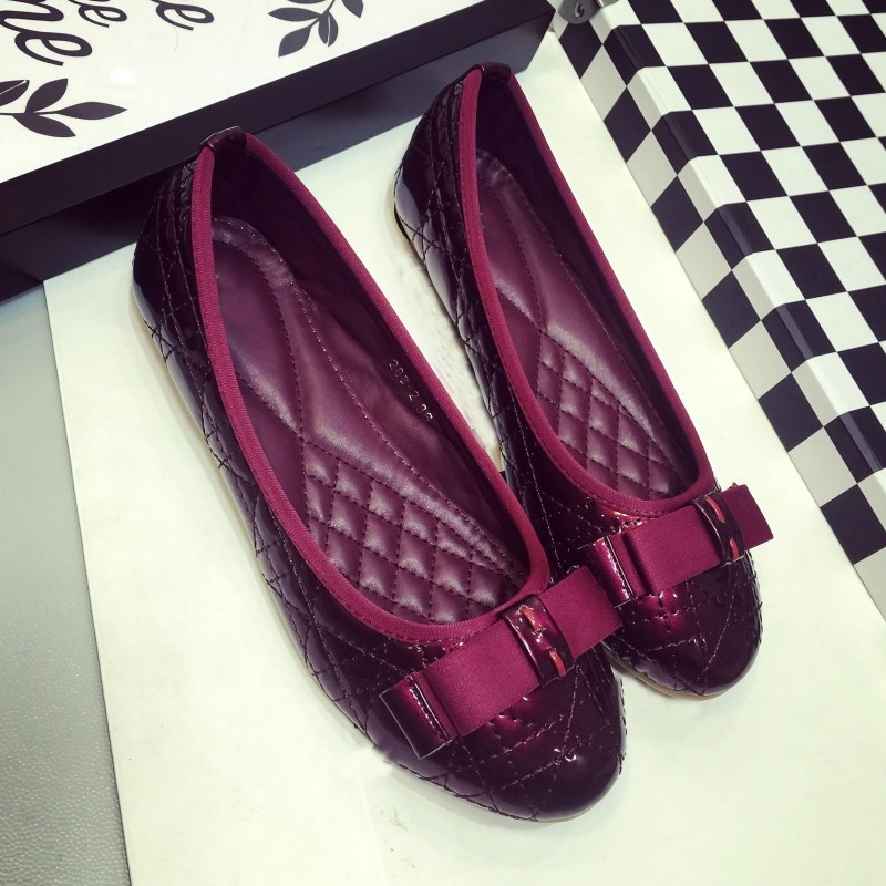 Fashion Spring Autumn Round Toe Patent Leather Bowtie Slip On Female Ballet Flats Shoes For Woman Casual Loafers Moccasins Red