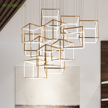 Square Modern golden Chandelier Crystal Diamond LED Lamp Stainless Steel Hanging Light Fixtures Adjustable Cristal LED Luster