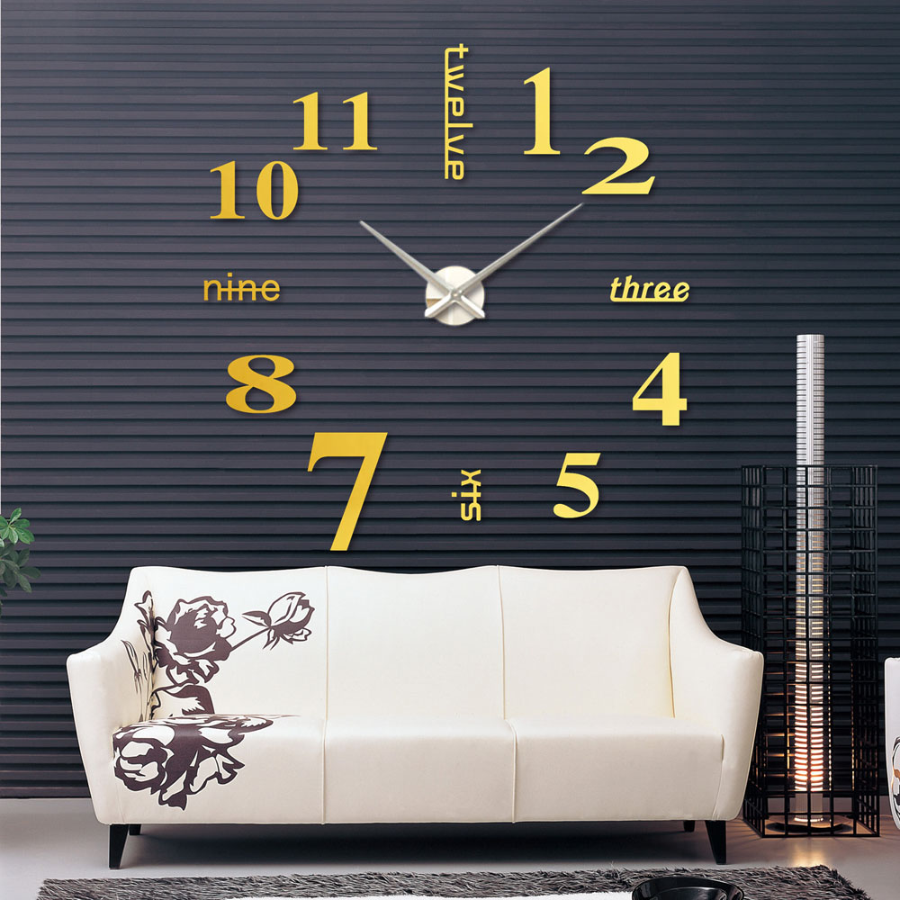 creative designs mirror wall clock large. DIY Large Watch Wall Clock Modern Design Stickers Mirror Effect Acrylic  Glass Decal Home Decoration Accessorie relogio de parede in Clocks from