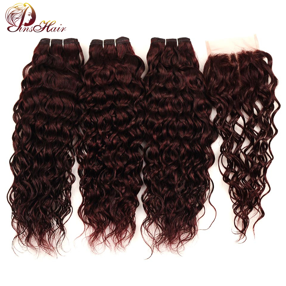 Pinshair Red Hair Malaysian Water Wave Burgundy 3 Bundles With Closure 99J Human Hair Bundles With