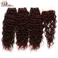 Pinshair 赤髪マレーシアの水波ブルゴーニュ 3 バンドルと閉鎖 99J 人間の髪のバンドル閉鎖非レミーの髪バンドル