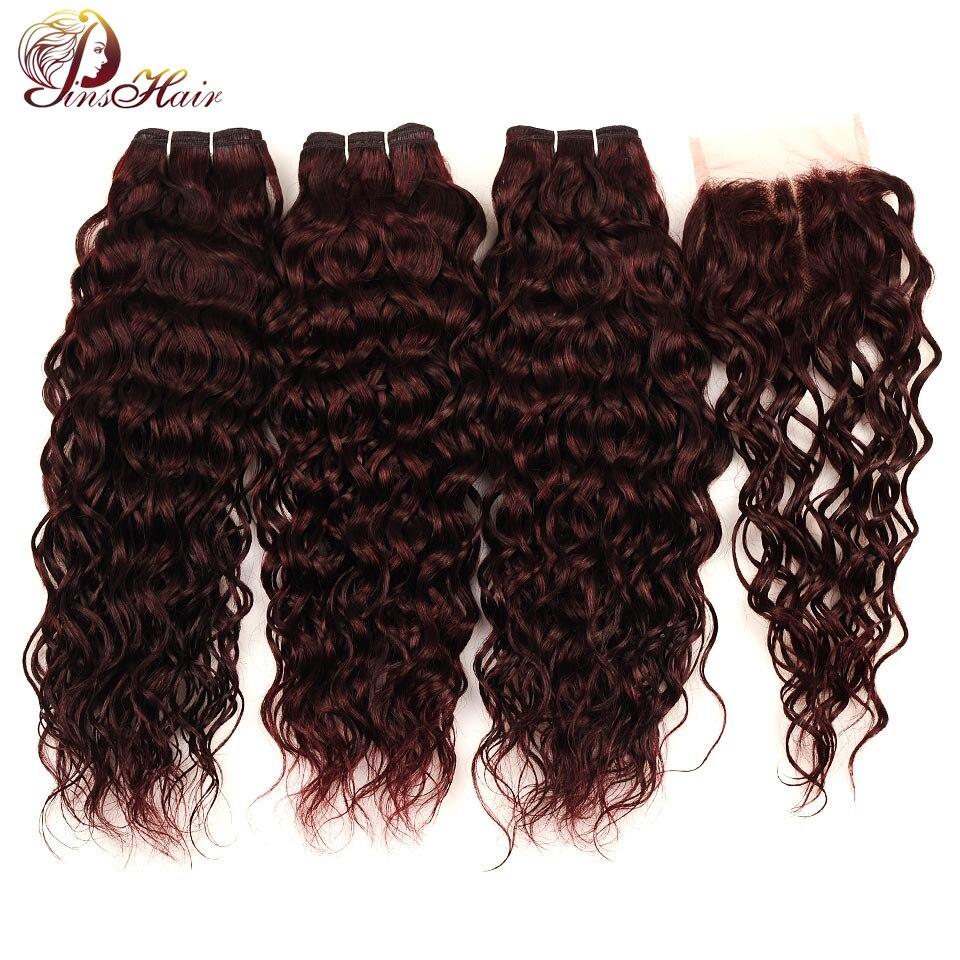 Pinshair Red Hair Malaysian Water Wave Burgundy 3 Bundles With Closure 99J Human Hair Bundles With Closure Non Remy Hair Bundles