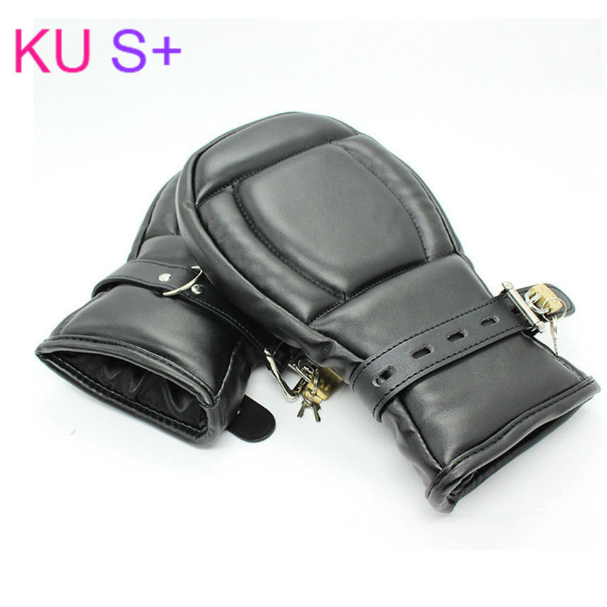 KU S+ bdsm sex adult game Locking Goth Padded Mittens Gloves Dog Paw Palm Leather Bondage Restraints Sex Toys For woman men cute bear paw plush gloves winter warm thermal children knitted gloves full finger mittens cartoon gloves