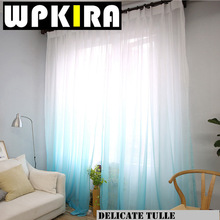 1PCS American Solid Sheer Blue Voile Curtain Modern Gradient Grey Curtains Tulle Fabric Window Curtain Panels White Curtain 30