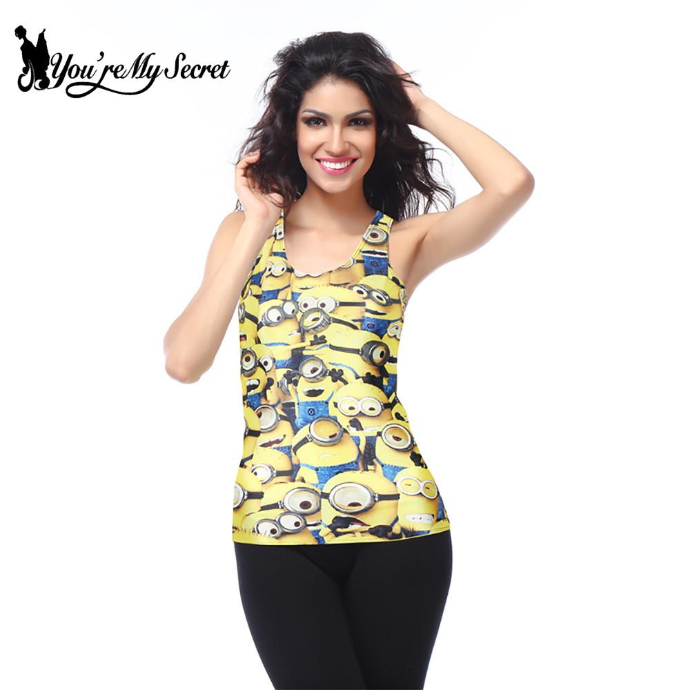 [You're My Secret] Classic Cartoon Mini Mouse Minions   Tank     Top   For Women Fashion Printing Vest   Tops   Summer Ultra Lower Price