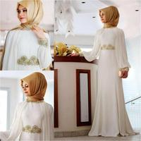 Elegant Muslim Evening Dresses Long Sleeve Islamic Arabic Evening Gown Dubai Formal Prom Dress With Hijab White Women Party Gown