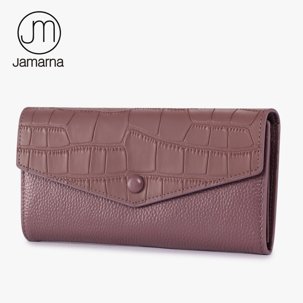 все цены на  Jamarna Genuine Leather For Wallet Crocodile Grain Pattern Female Purse Long Clutch Card Holder Zipper Pocket Brand Wallet Pink