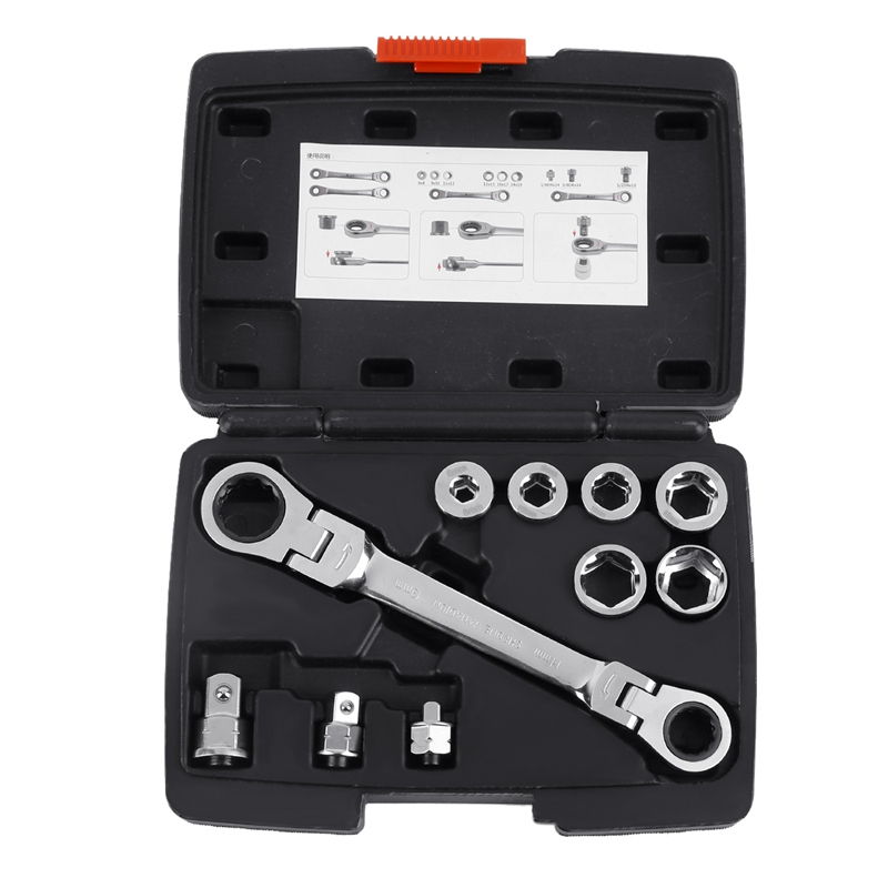 15IN1 Activities Ratchet Torque Wrench Set 6 19mm Hex Double Head Socket Wrench CR V Metric Auto Repair Tools in Wrench from Tools