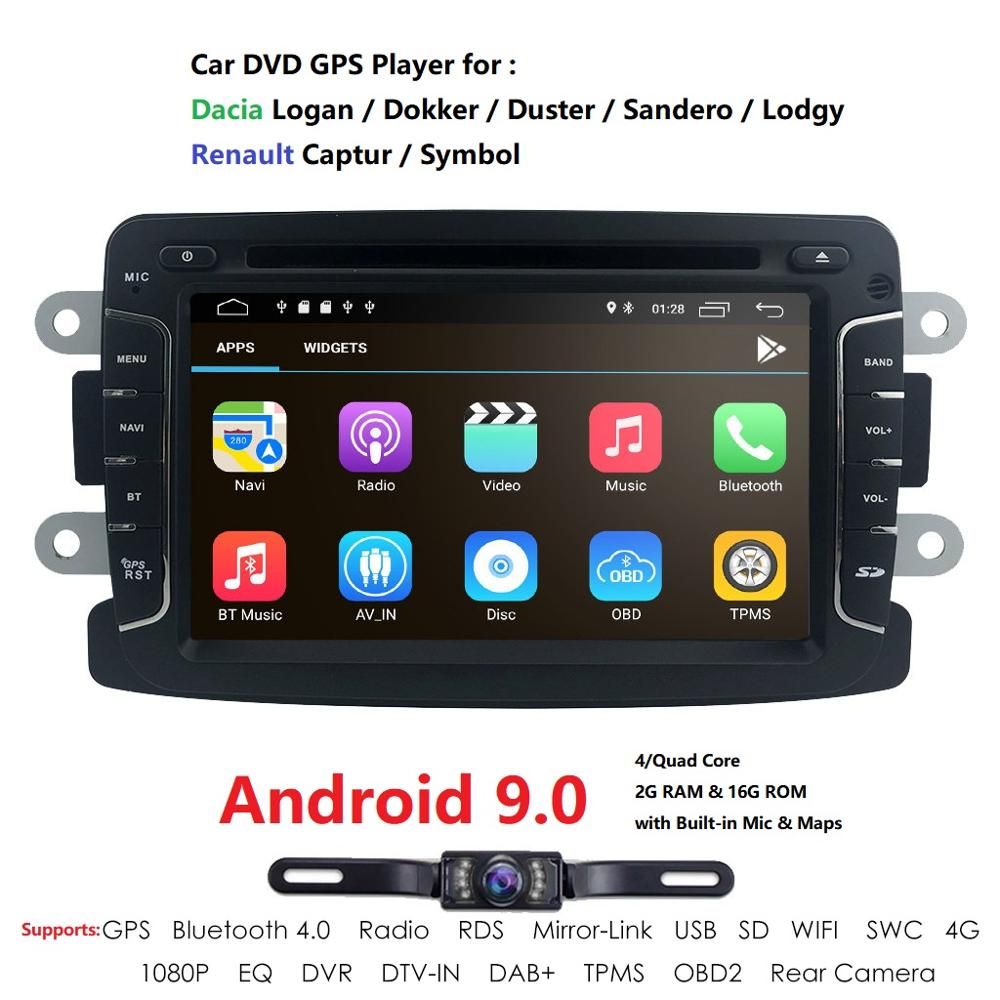 QuadCore Pure Android9.0 GPS Navigation Radio For RENAULT Dacia Renault Duster Logan Sandero Car DVD Central Cassette Player CAM