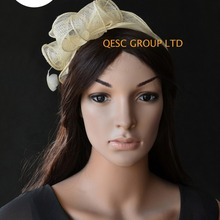 021afbe295084 NEW SALE Ivory cream small Sinamay Fascinator with feathersfor tea party
