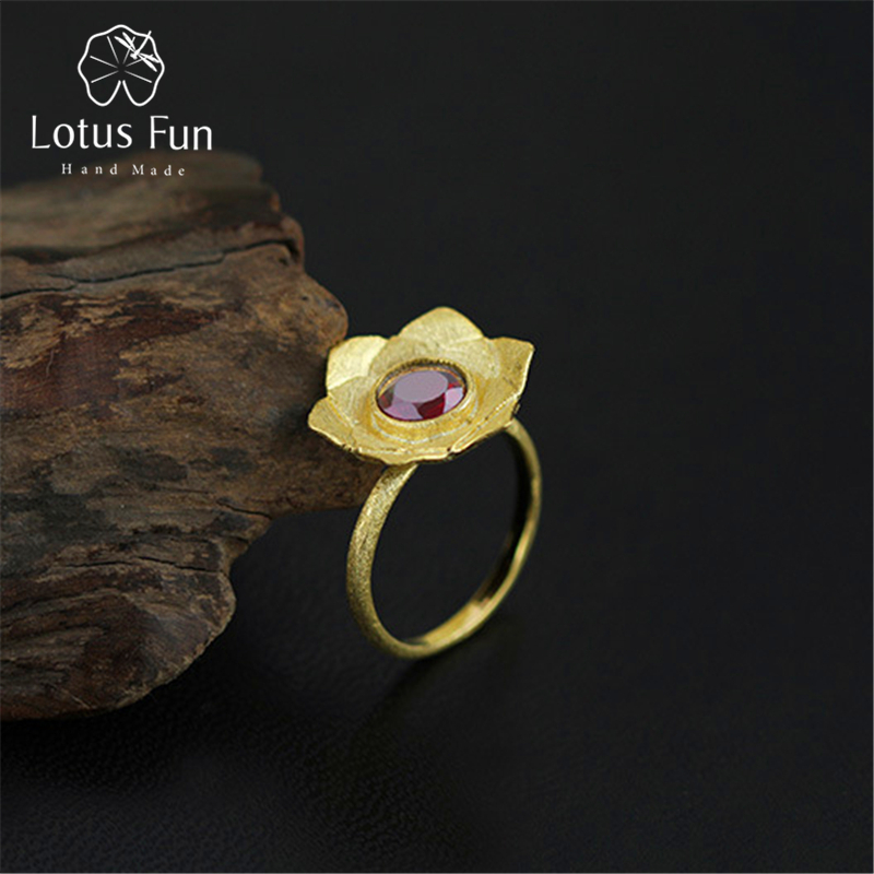 Lotus Fun Real 925 Sterling Silver Natural Garnet Creative Handmade Designer Fine Jewelry Pure Lotus Ring Female Rings Bijoux hubsan h501s lipo battery 7 4v 2700mah 10c 3pcs batteies with cable for charger hubsan h501c rc quadcopter airplane drone spare