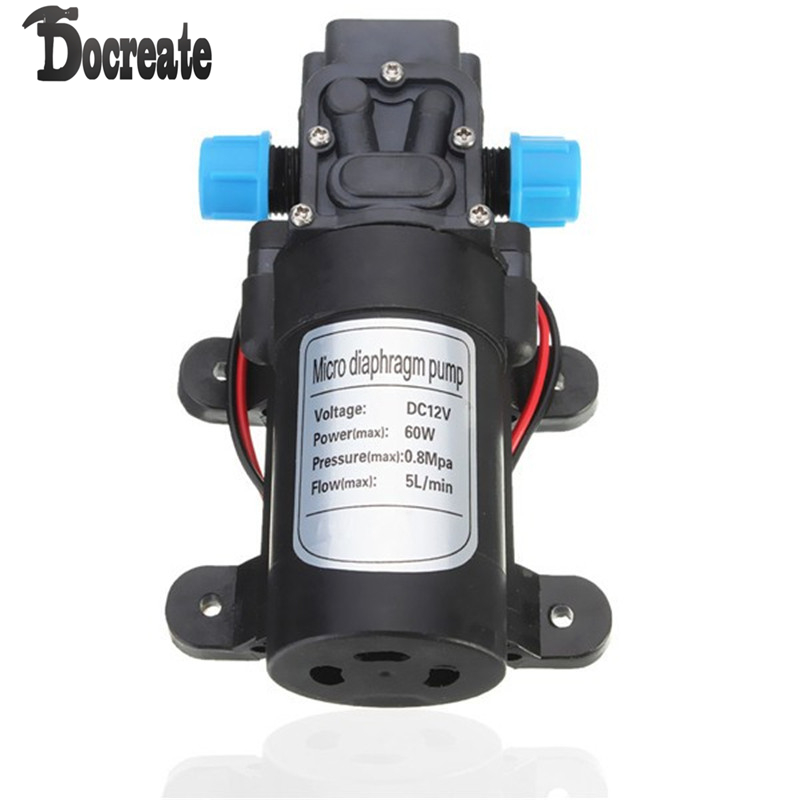 DC 12V 60W Motor High Pressure Micro Diaphragm Water Self Priming Pump 5L/Min 12v dc 4l min 100psi high pressure diaphragm water pump