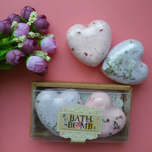 2 pcs/set Gift box Lavender bath bombs for a bath with a surprise Love Shape Romantic Bath Salt Bomb For Relax and Body Massage(China)