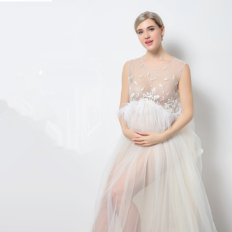 New Style Sexy Modal Organza See-through Dress Women Ladies Pregnant Loose Soft Large Size Sleeveless Long Maternity Dress sexy scoop neck long sleeve flower pattern see through dress for women
